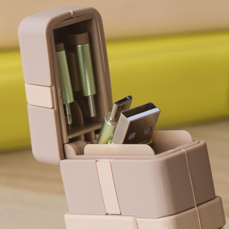 """Thumbs Up PowerSquad """"The Child"""" - 0,6 m - USB A - USB C/Micro-USB B/Lightning - Beige - Grün"""