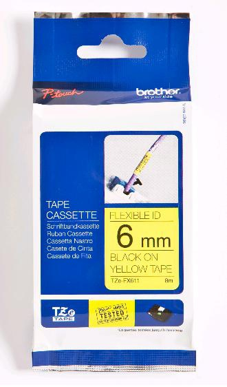 Brother TZeFX611 - Schriftband Original - Schwarz, Yellow
