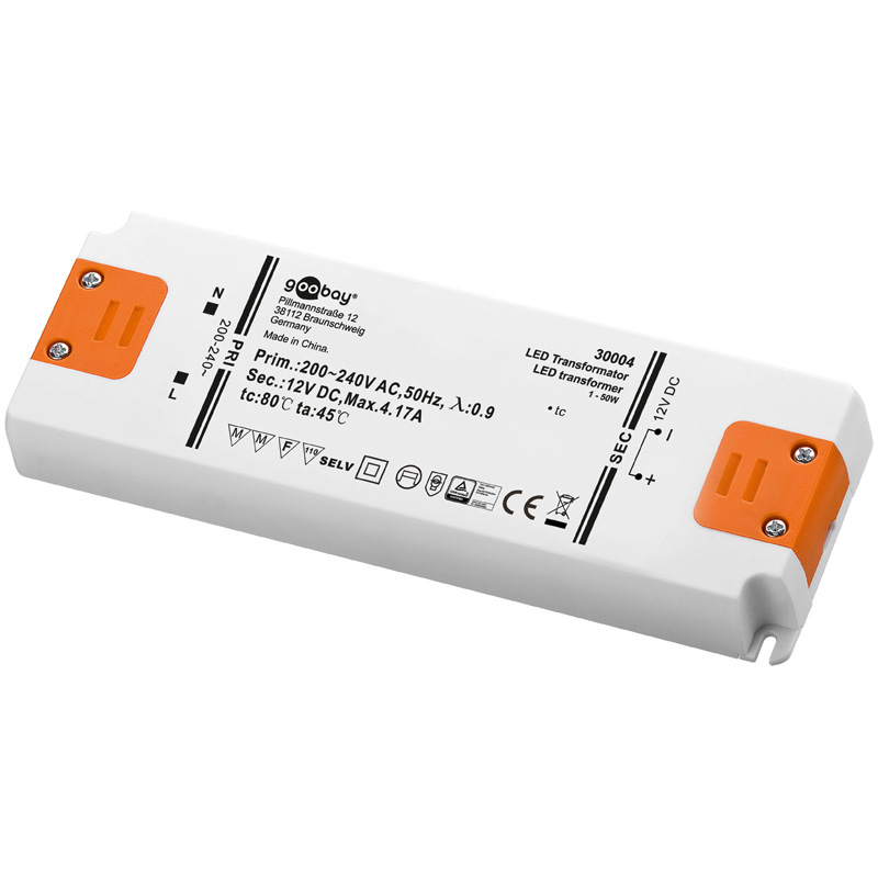 Wentronic 30004 - Indoor - 200-240 V - 50 W - 12 V - DC1-to-DC2 - 0,00417 A