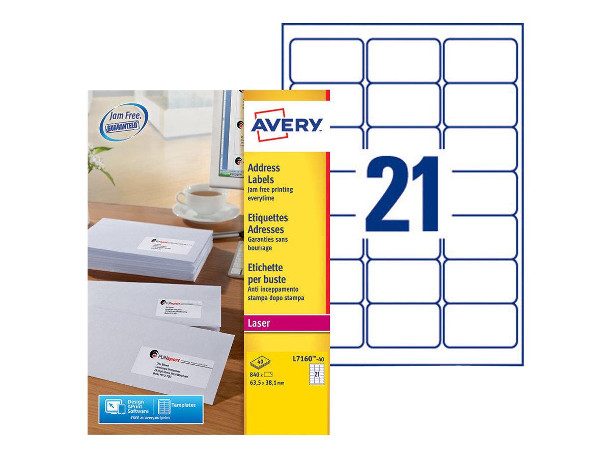 Avery Zweckform  Weiß - 63.5 x 38.1 mm 840 Etikett(en) (40 Bogen x 21) Adressetiketten