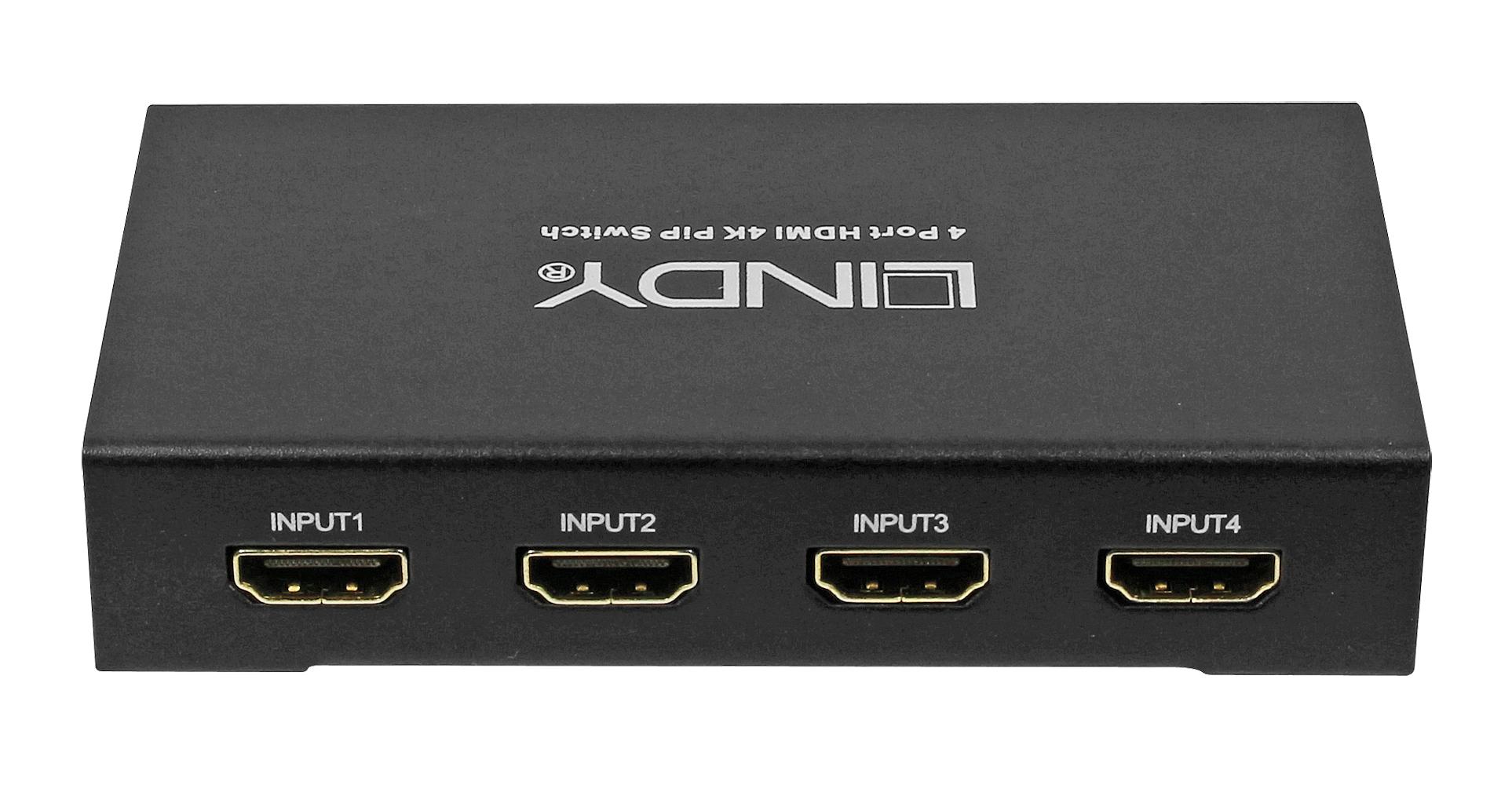 Lindy HDMI 4K PIP Switch - Video/Audio-Schalter - 4 x HDMI