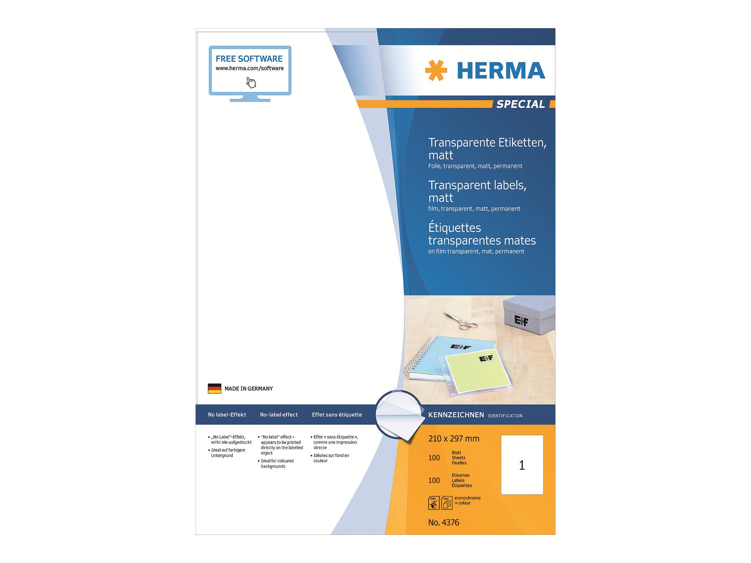 HERMA Special - Matt - permanent selbstklebend - durchsichtig - A4 (210 x 297 mm)