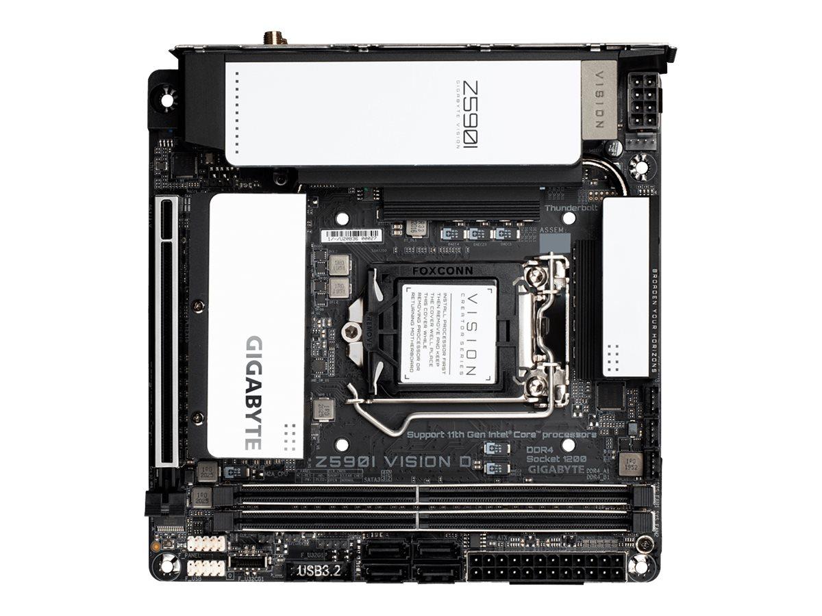 Gigabyte Z590I VISION D - 1.0 - Motherboard - Mini-ITX - LGA1200-Sockel - Z590 Chipsatz - USB-C Gen2, USB-C Gen1, USB 3.2 Gen 1, USB 3.2 Gen 2 - Wi-Fi, Bluetooth, 2 x 2.5 Gigabit LAN - Onboard-Grafik (CPU erforderlich)
