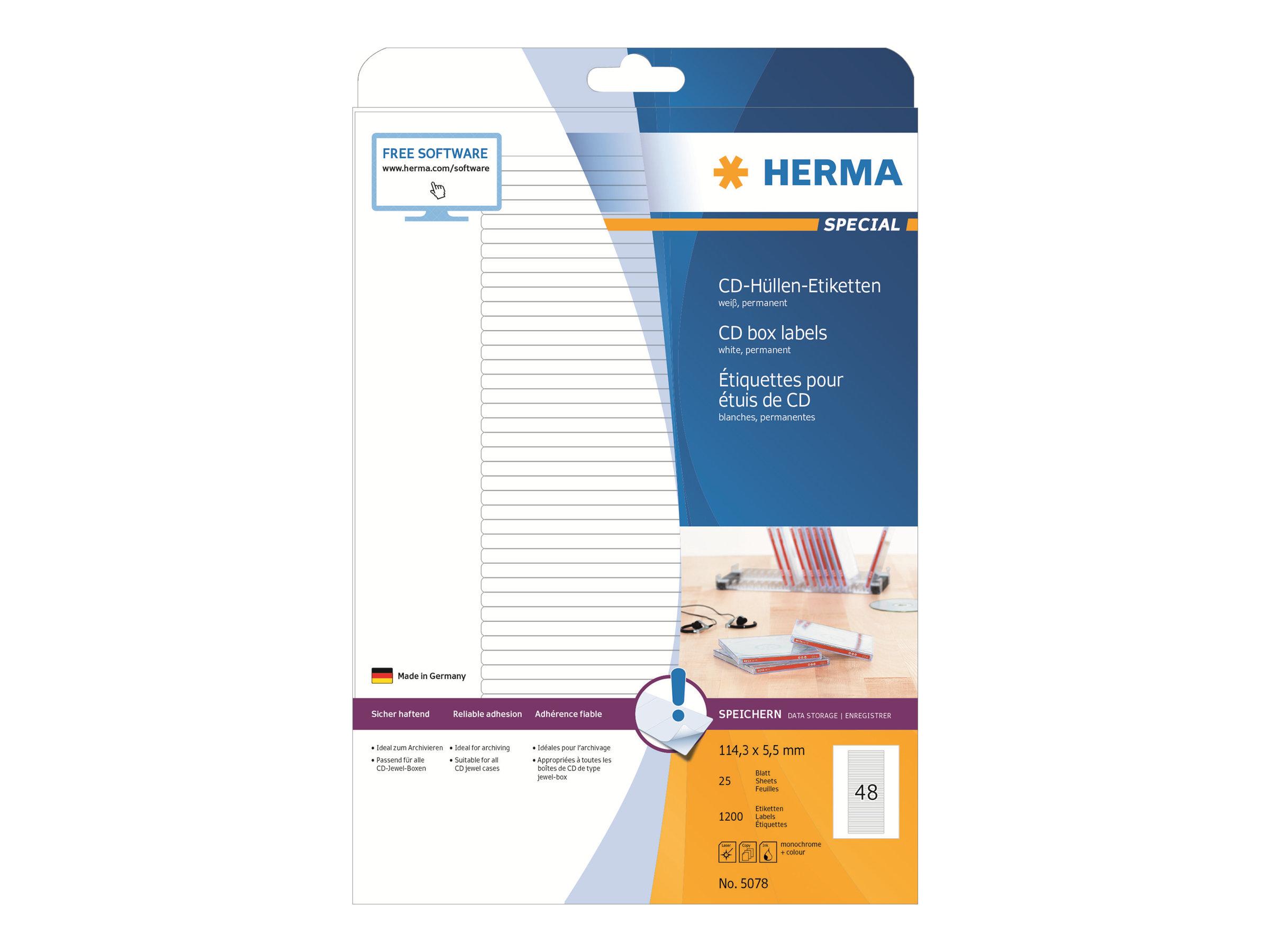 HERMA Special - Papier - matt - permanent selbstklebend - weiß - 114.3 x 5.5 mm 1200 Etikett(en) (25 Bogen x 48)