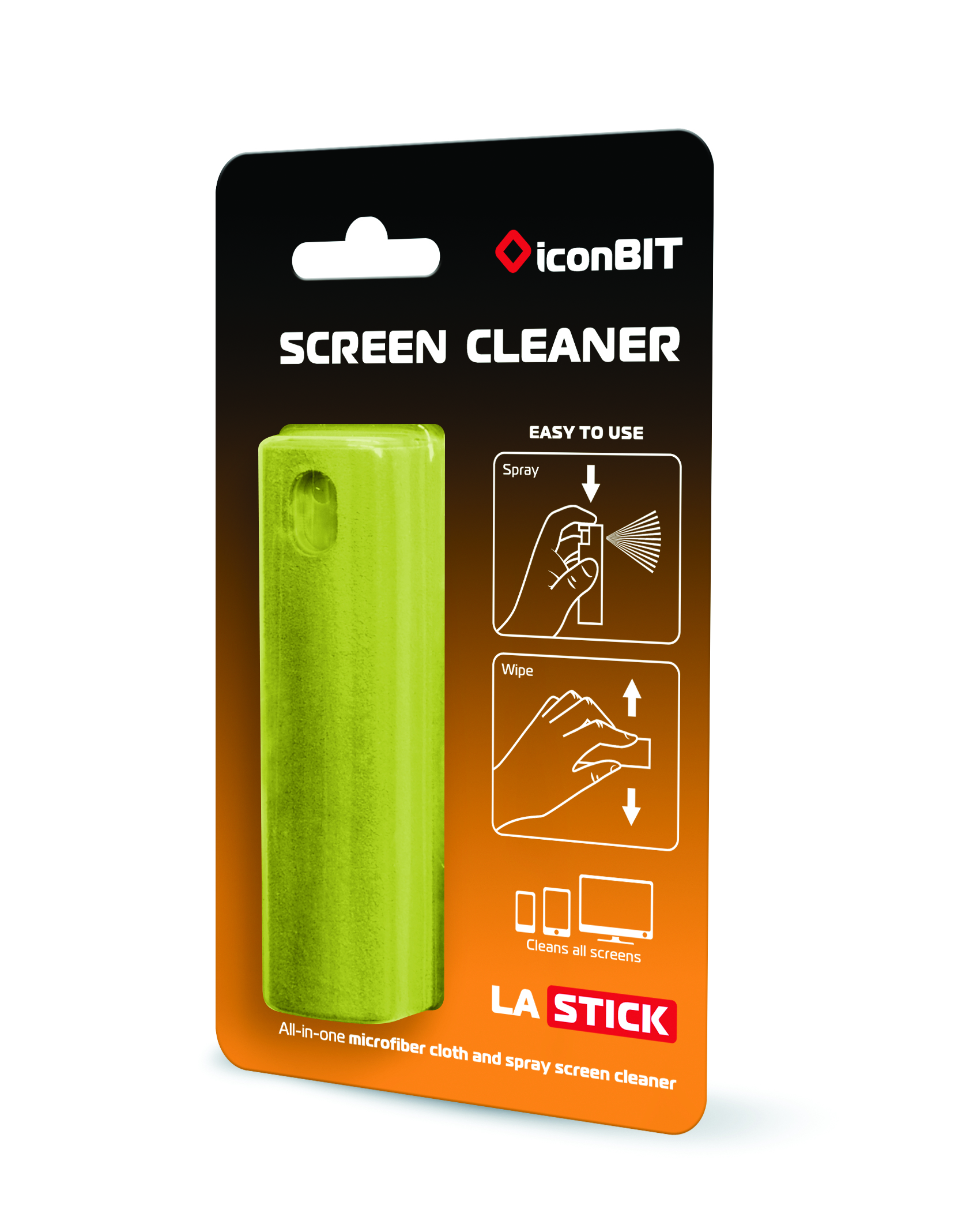 iconBIT LASTICK - Gerätereinigungsspray & Trockentuch - LCD / TFT / Plasma - 10 ml - Grün - 91 mm - 1 Stück(e)