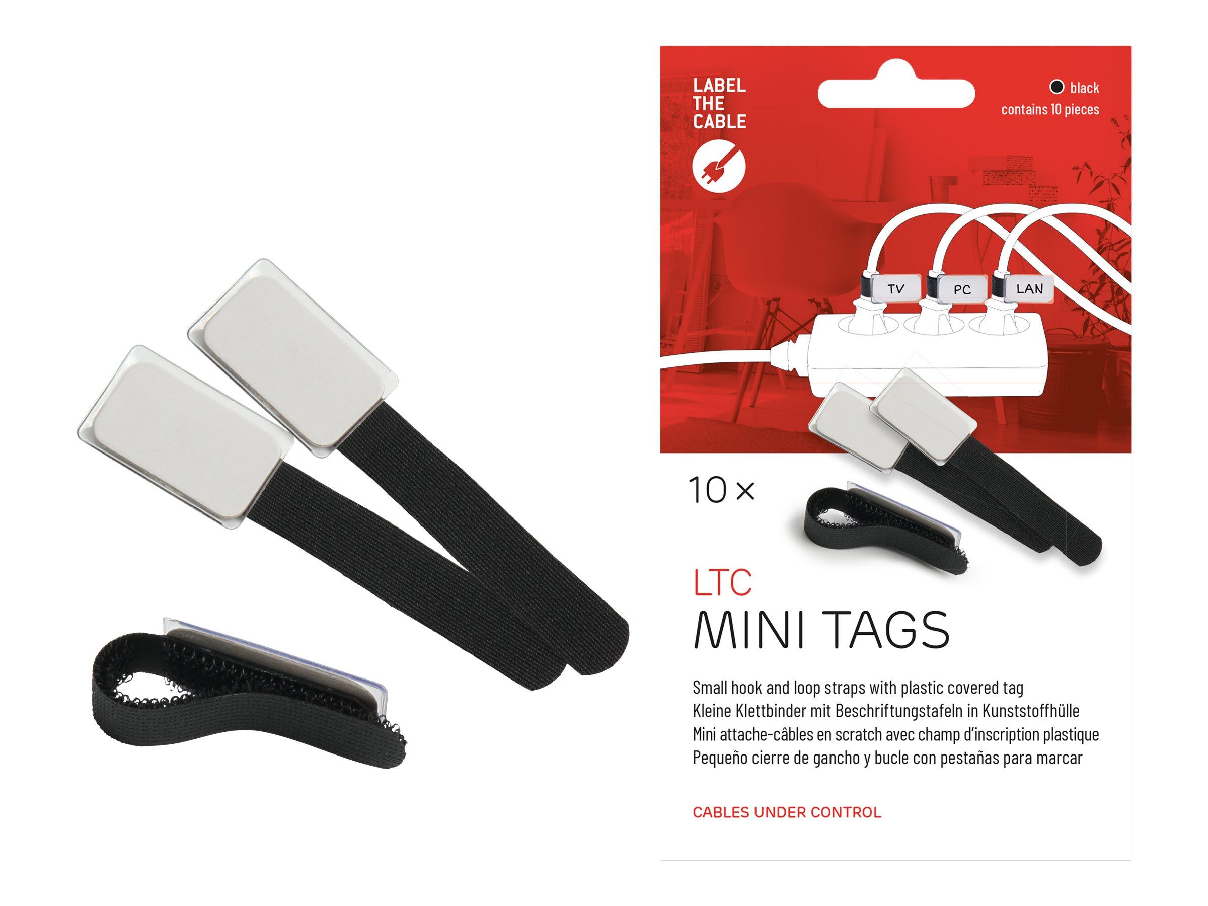 Label-the-cable LTC MINI TAGS - Draht-/Kabel-Marker - 9 cm - Schwarz (Packung mit 10)