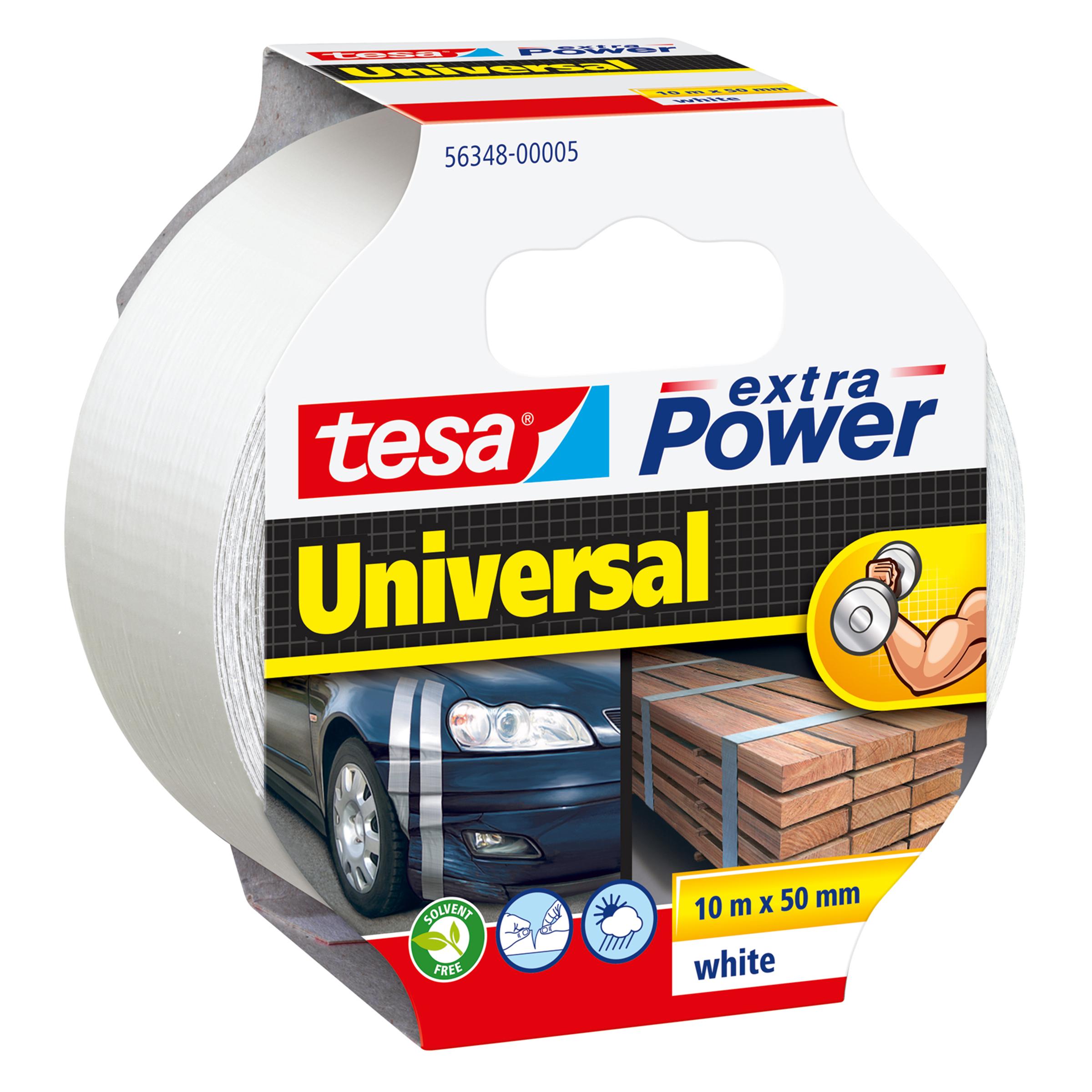 Tesa extra Power Universal - Weiß - Befestigung - Handwerk - Kennzeichnung - Reparatur - 10 m - 50 mm