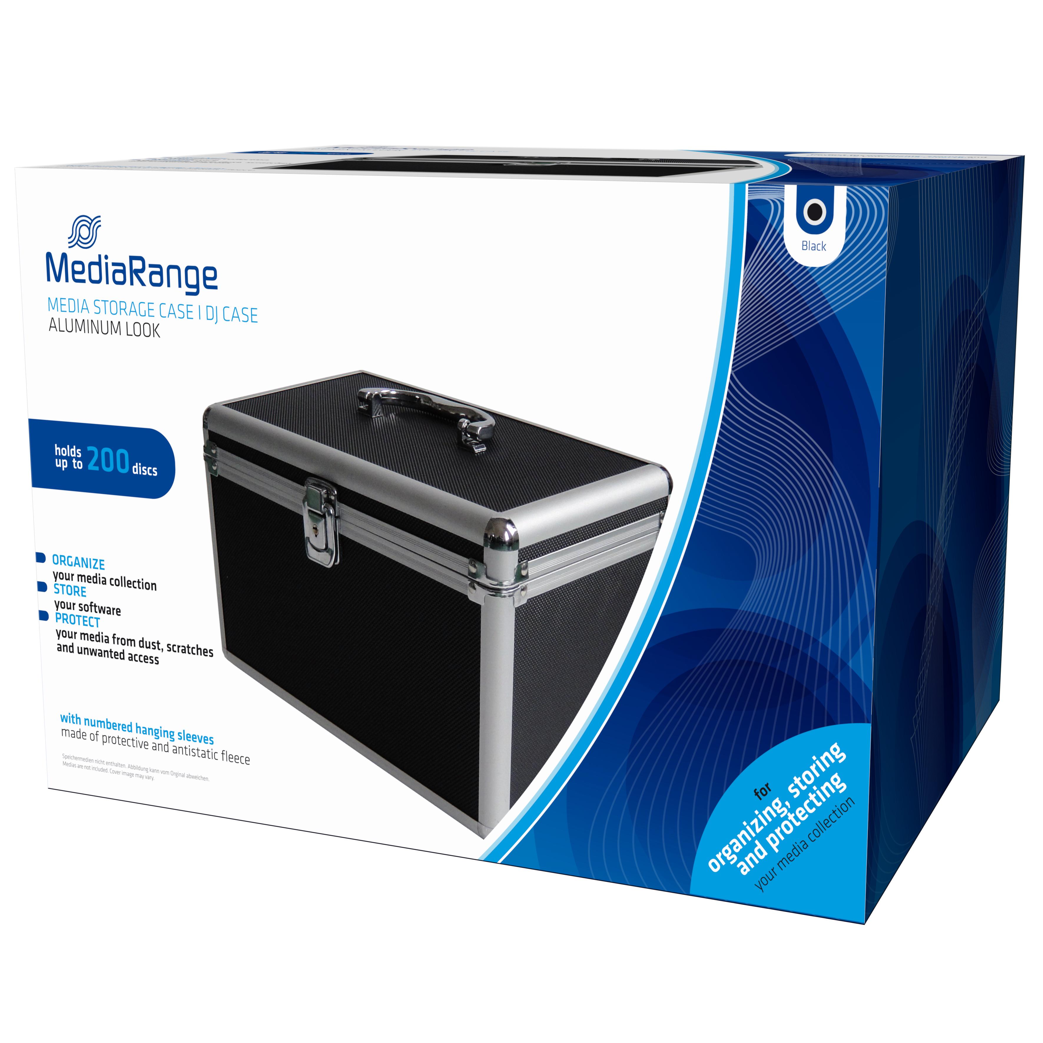 MEDIARANGE BOX71 - Gehäusebox - 200 Disks - Schwarz - Fleece - Kunststoff - Holz - 120 mm - Aluminium