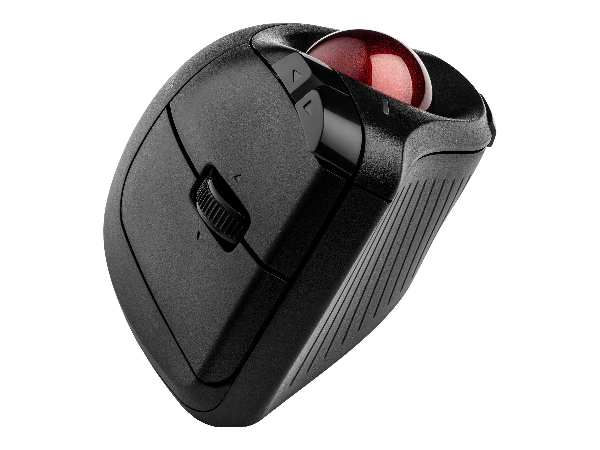 Kensington Pro Fit Ergo Vertical Wireless Trackball - Trackball - ergonomisch - optisch - 9 Tasten - kabellos - Bluetooth, 2.4 GHz - kabelloser Empfänger (USB)