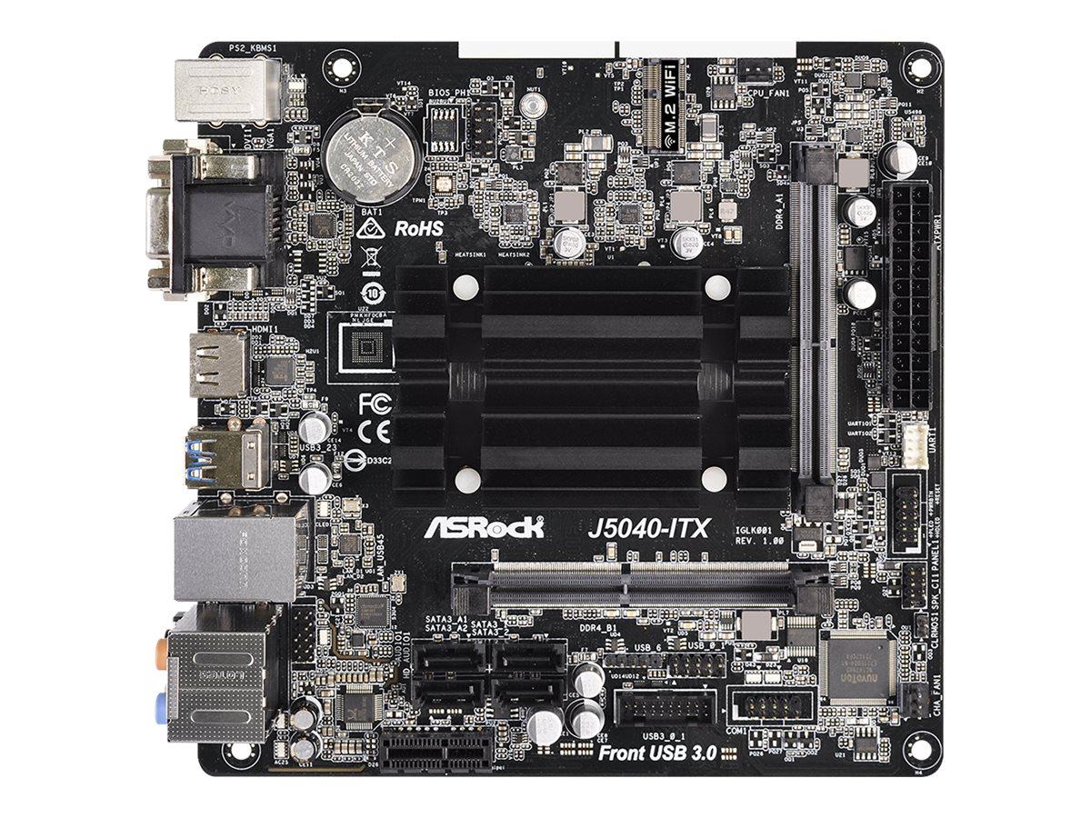 ASRock J5040-ITX - Motherboard - Mini-ITX - Intel Pentium Silver J5040 - USB 3.2 Gen 1 - Gigabit LAN - Onboard-Grafik - HD Audio (8-Kanal)