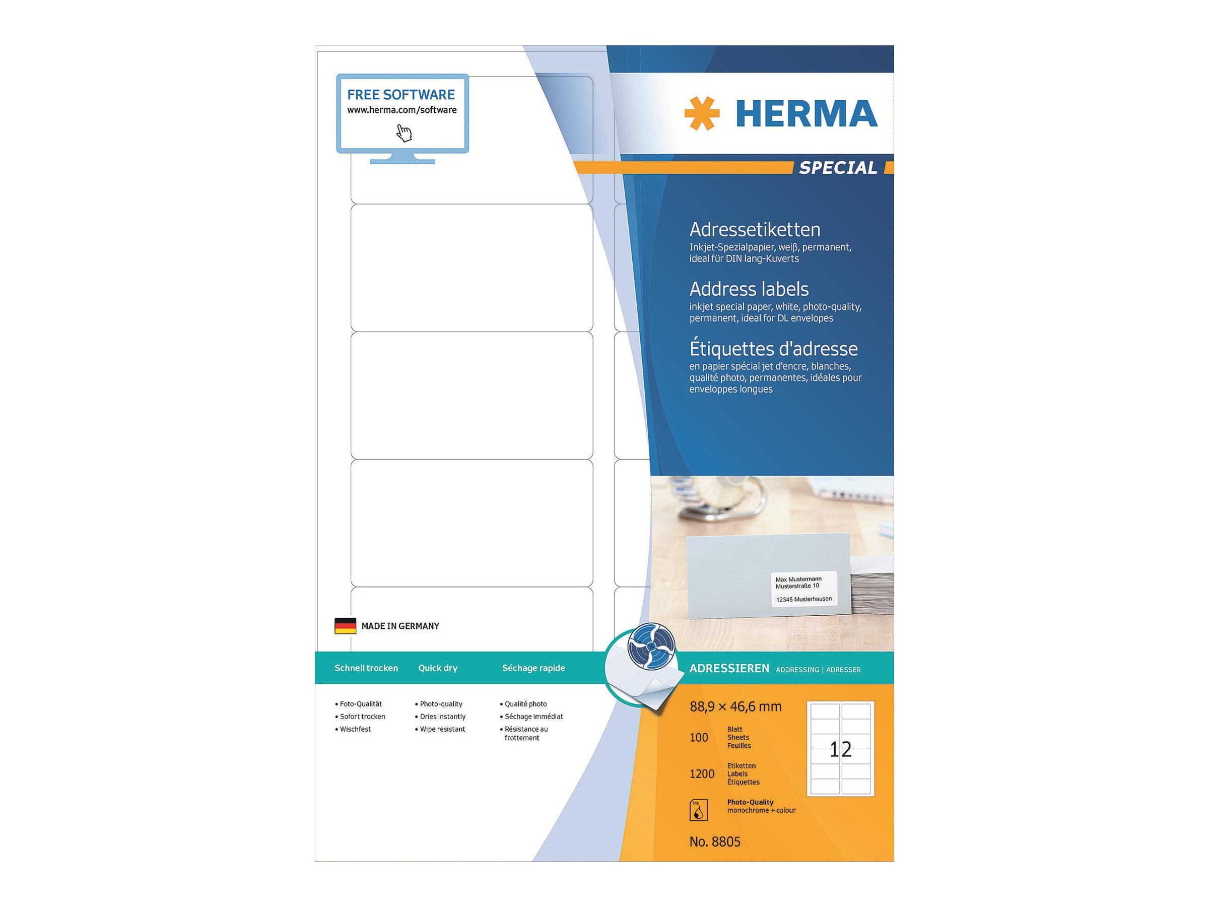 HERMA Special - Papier - matt - permanent selbstklebend - beschichtet - weiß - 88.9 x 46.6 mm - 90 g/m² - 1200 Etikett(en) (100 Bogen x 12)