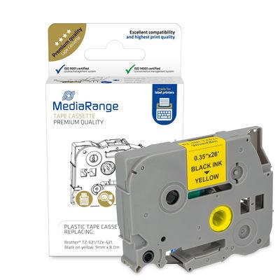 MEDIARANGE MRBTZ621 - Schwarz auf gelb - TZ/TZe - Brother - P-Touch 1000 - 1010 - 1080 - 1090 - 1260VP - 1280 - 1280DT - 1290 - 1750 - 1830VP - 18R - 2030VP - 2100VP,... - 9 mm - 8 m
