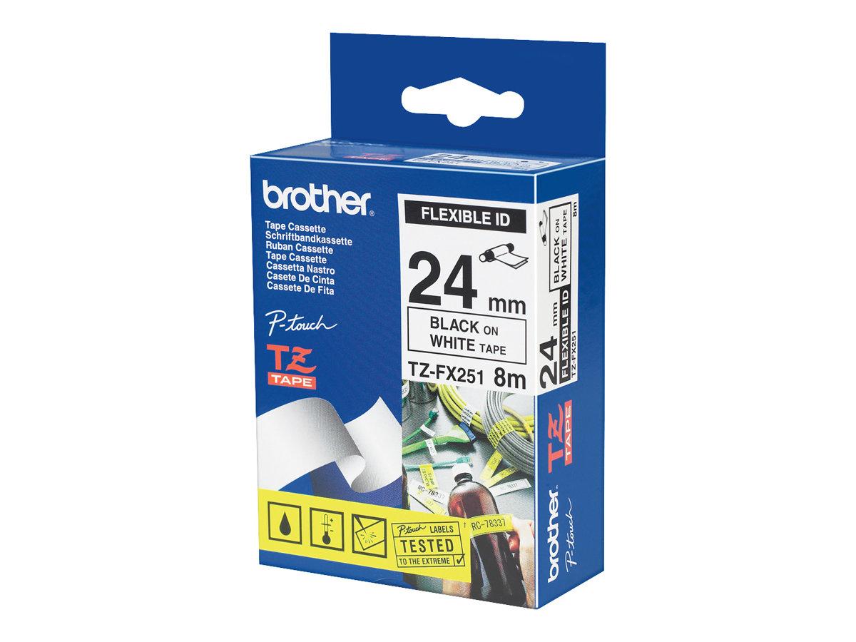 Brother TZFX251 - Schwarz auf Weiß