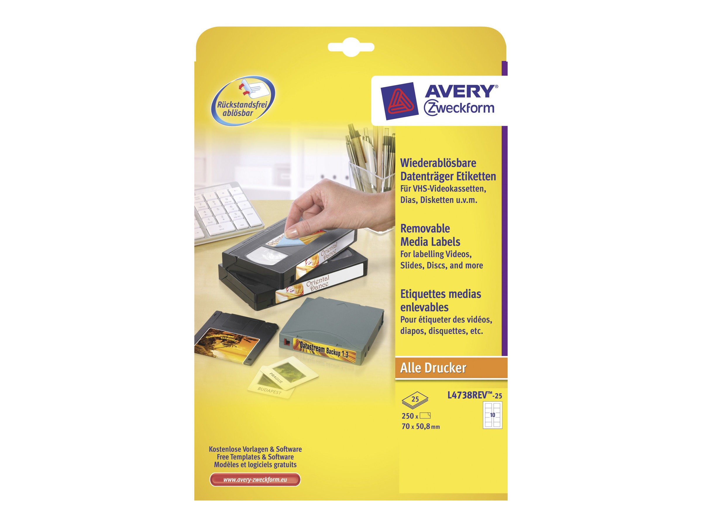 Avery Zweckform Diskette Labels - Weiß - 70 x 50.8 mm 250 Etikett(en) (25 Bogen x 10) Diskettenetiketten
