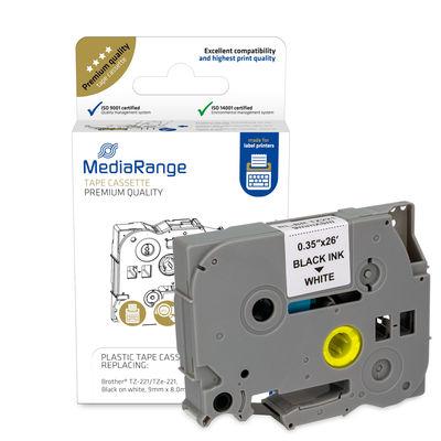 Vorschau: MEDIARANGE MRBTZ221 - Schwarz - Tintenstrahl - Dauerhaft - Brother P-Touch 1000 - 1010 - 1080 - 1090 - 1260VP - 1280 - 1280DT - 1290 - 1750 - 1830VP - 18R - 2030VP,... - 9 mm - 1 Stück(e)