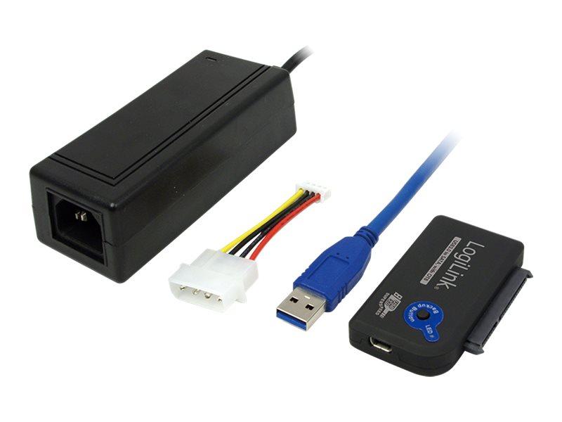 LogiLink Adapter USB 3.0 to SATA with OTB - Speicher-Controller mit Datenanzeige, Netzanzeige, OneTouchEasy-Button (OTB)