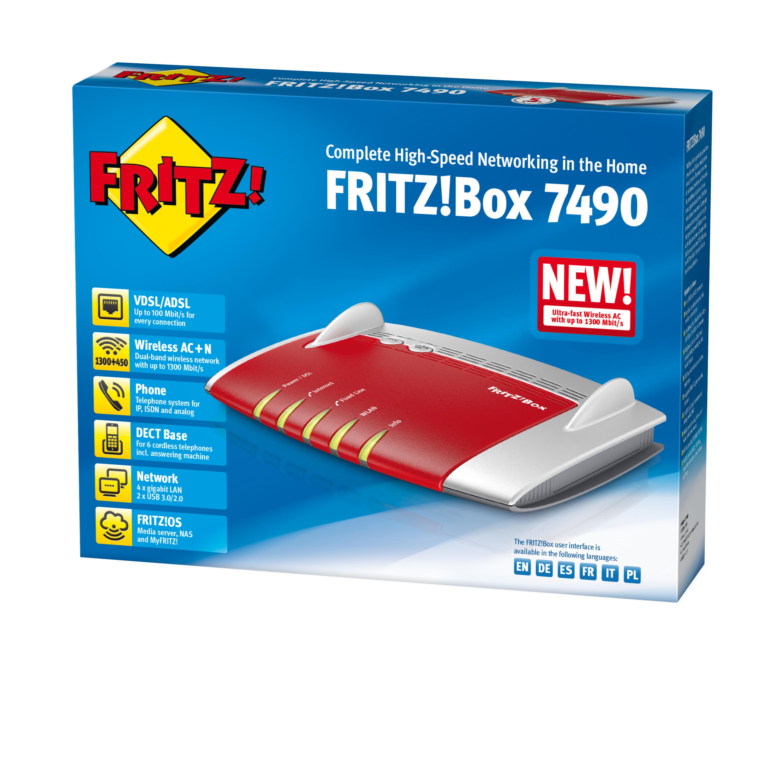 AVM FRITZ!Box 7490 A/CH Dual-Band (2,4 GHz/5 GHz) Gigabit Ethernet 3G Rot - Silber WLAN-Router