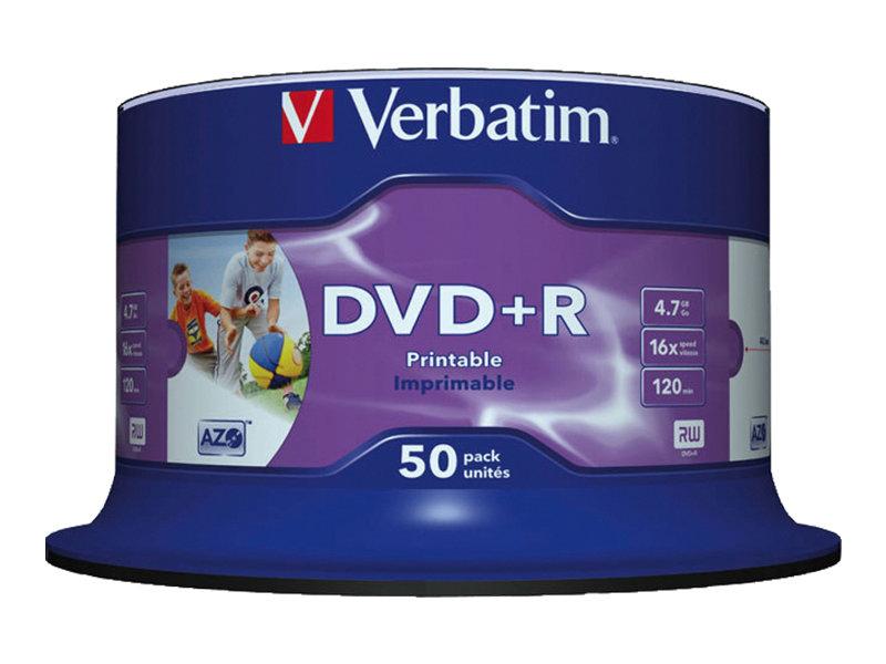 Verbatim 50 x DVD+R - 4.7 GB 16x - Bedruckbarer Innenring, in Fotoqualität bedruckbare Oberfläche