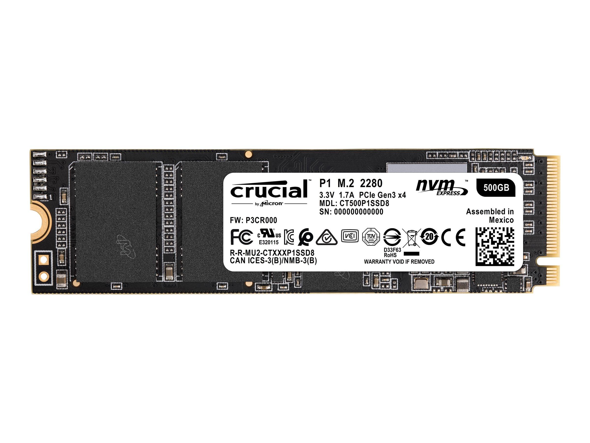 Crucial P1 - 500 GB SSD - intern - M.2 2280 - PCI Express 3.0 x4 (NVMe)