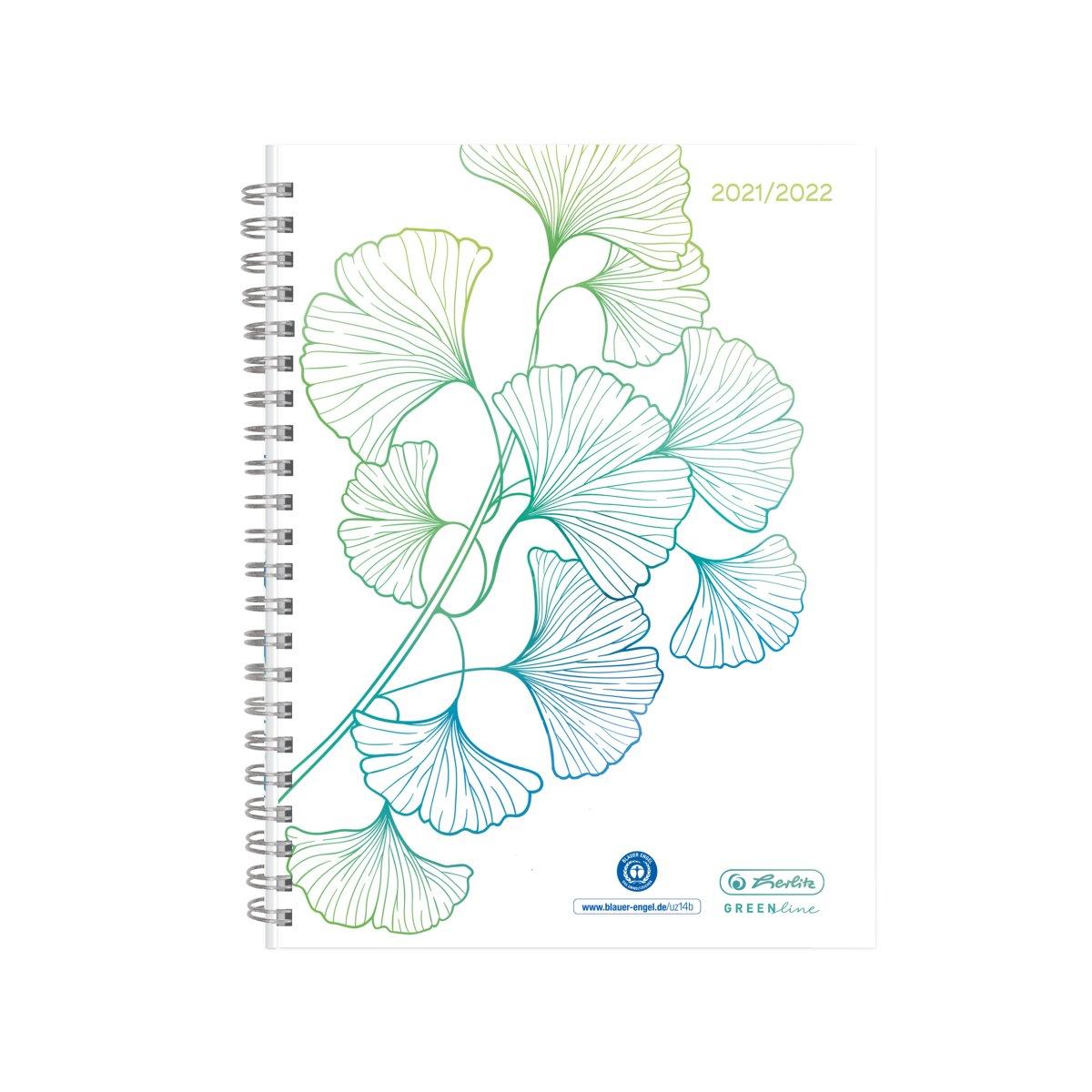 Vorschau: Herlitz Schülerkalender GREENline A5 21/22 Ginkgo Wochenkale