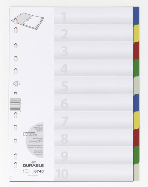 Durable 6740 - Leerer Registerindex - Polypropylen (PP) - Mehrfarben - Porträt - A4 - 220 mm