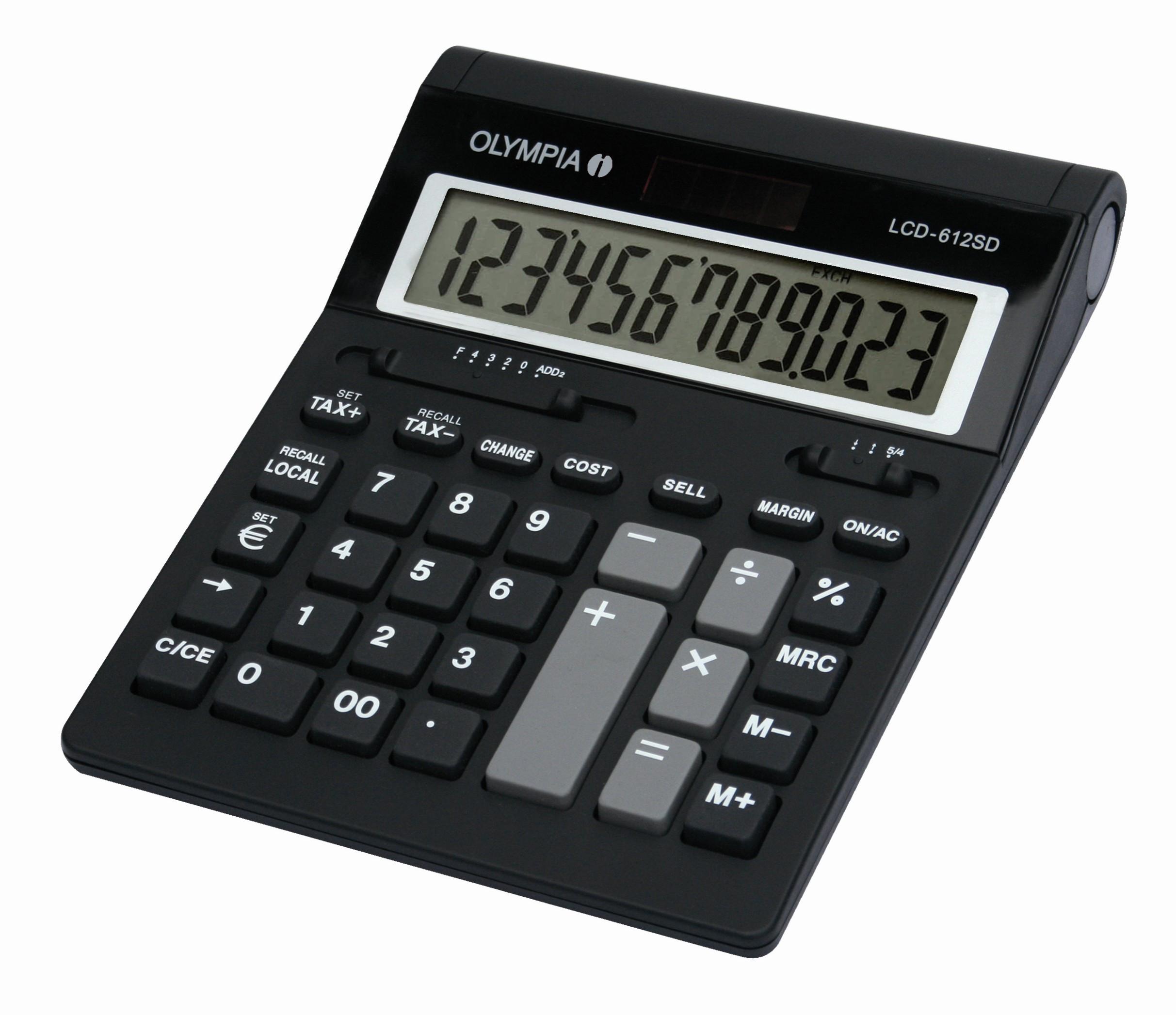 Olympia LCD 612 SD - Desktop - Einfacher Taschenrechner - 12 Ziffern - 1 Zeilen - Schwarz