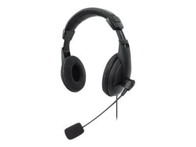 Manhattan Stereo USB Headset, Lightweight Over-Ear design, Adjustable microphone, Integrated controls, USB-A plug, Black