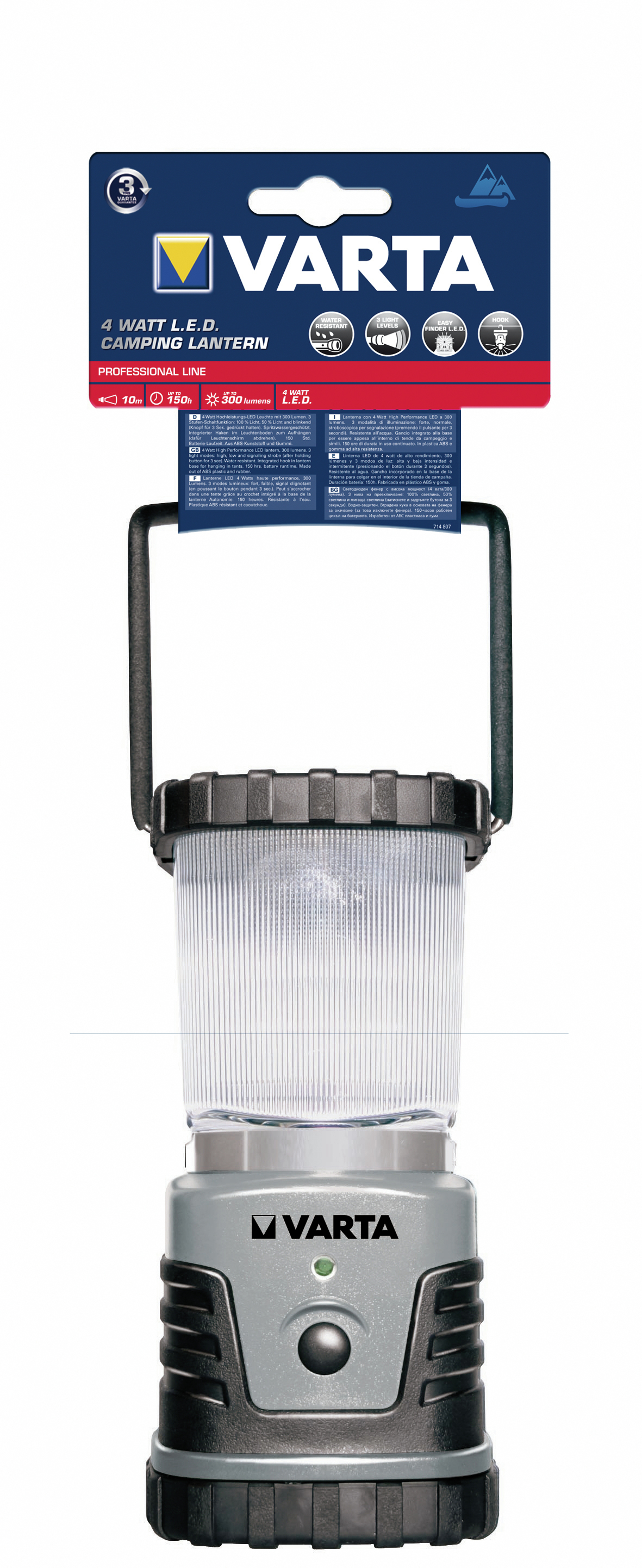 Varta 4W 3D LED - Schwarz - Silber - Kunststoff - Gummi - LED - 4 W - 150 h - 88 mm