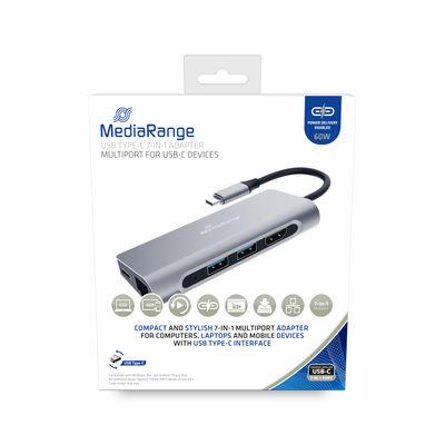 MEDIARANGE MRCS510 - USB 3.2 Gen 1 (3.1 Gen 1) Type-C - USB 3.2 Gen 1 (3.1 Gen 1) Type-A - USB 3.2 Gen 1 (3.1 Gen 1) Type-C - 3840 x 2160 Pixel - SD,SDHC,SDXC - 5000 Mbit/s - Silber