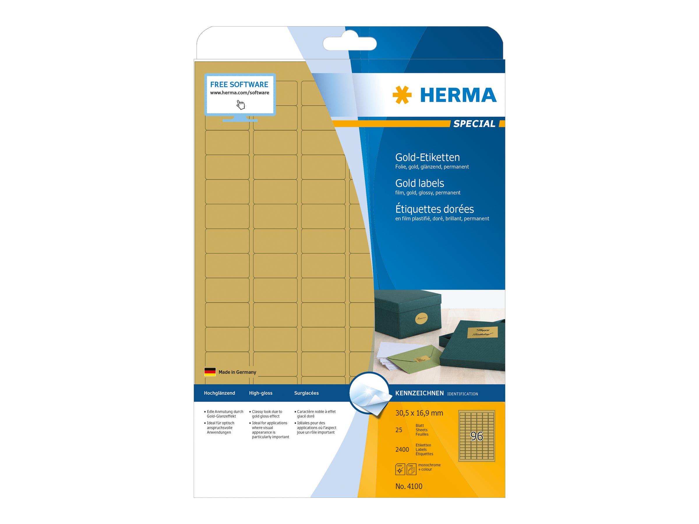 HERMA Special - Polyester - glänzend - permanent selbstklebend - Gold - 30.5 x 16.9 mm 2400 Etikett(en) (25 Bogen x 96)