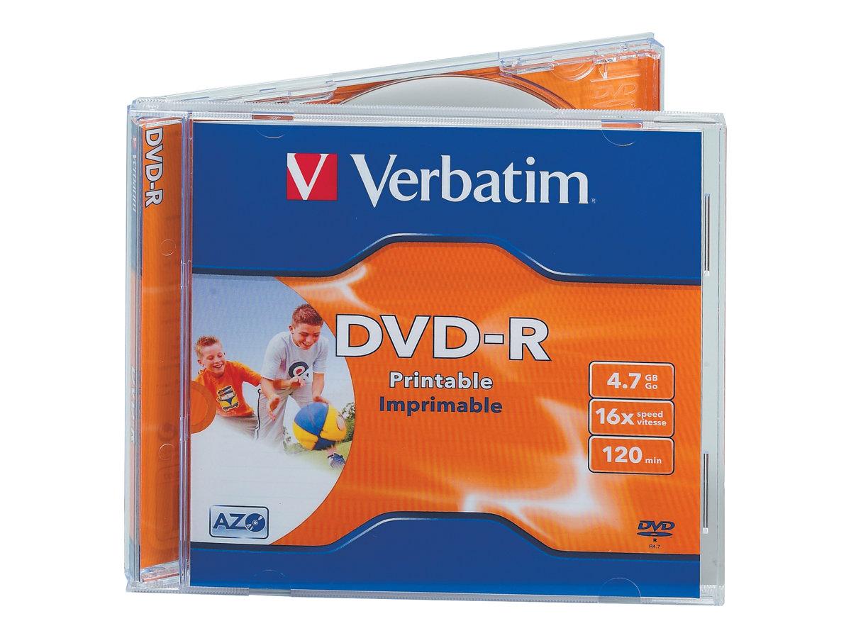 Verbatim 10 x DVD-R - 4.7 GB 16x - breite bedruckbare Fläche für Fotos - Jewel Case (Schachtel)