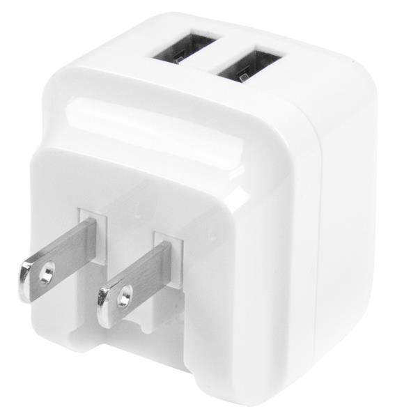 StarTech.com 2 Port USB Ladegerät / Netzteil - 2-fach Reiseladegerät 17 Watt / 3.4 Amp - Weiß