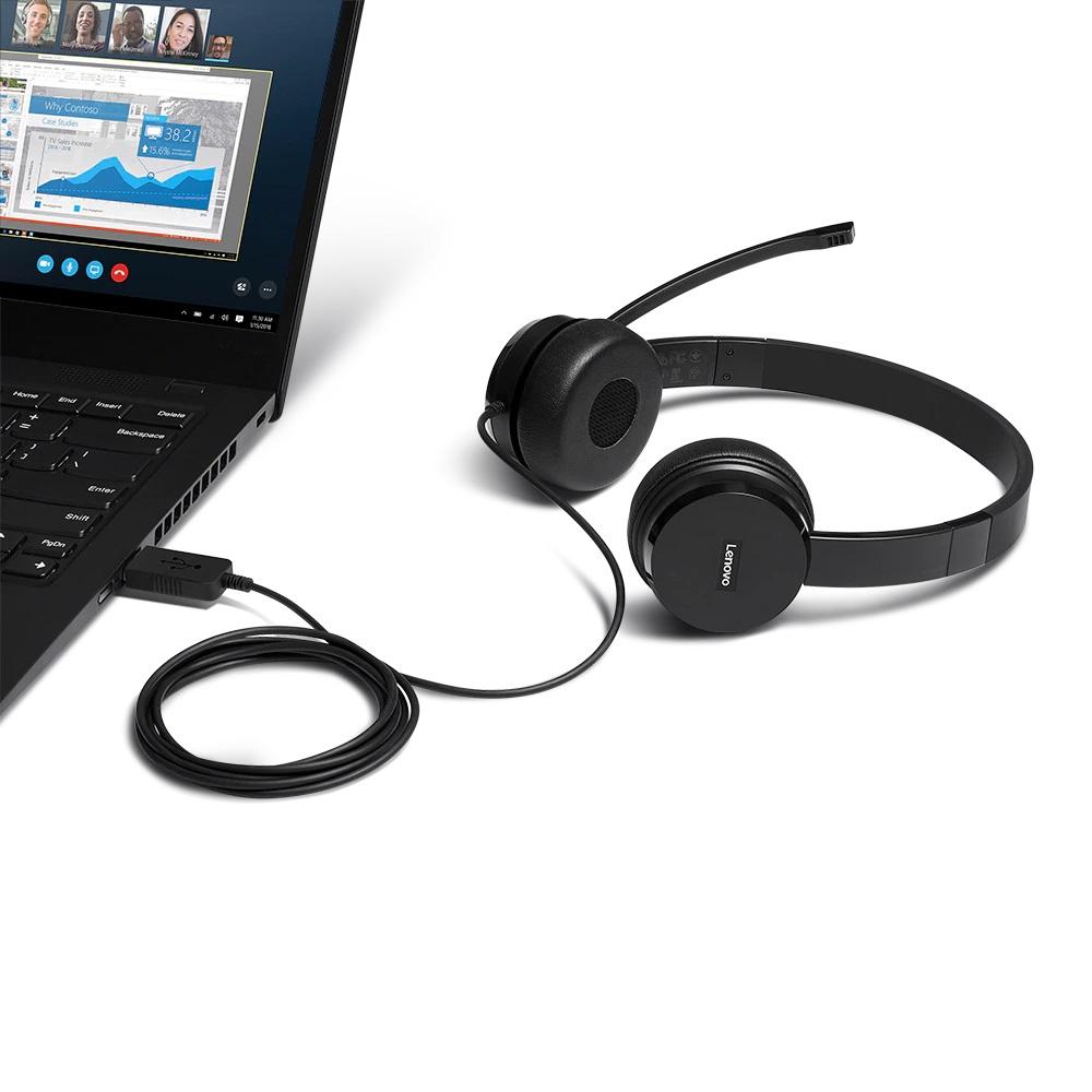 Lenovo 100 - Headset - On-Ear - kabelgebunden - Schwarz - für ThinkCentre M75; M75n IoT; M80; M90; ThinkPad P1 (3rd Gen)