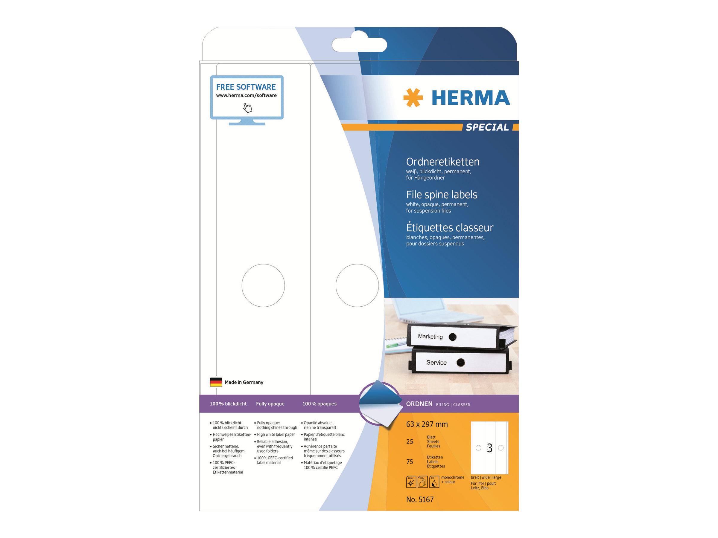 HERMA Special - Papier - matt - permanent selbstklebend - weiß - 63 x 297 mm 75 Etikett(en) (25 Bogen x 3)