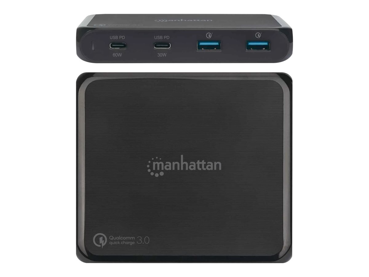 Manhattan Charging Station, 2x USB-C and 2x USB-A Ports, USB-C Outputs: 1x 60W and 1x 30W, USB-A Outputs: 2x 18W (Qualcomm Quick Charge)