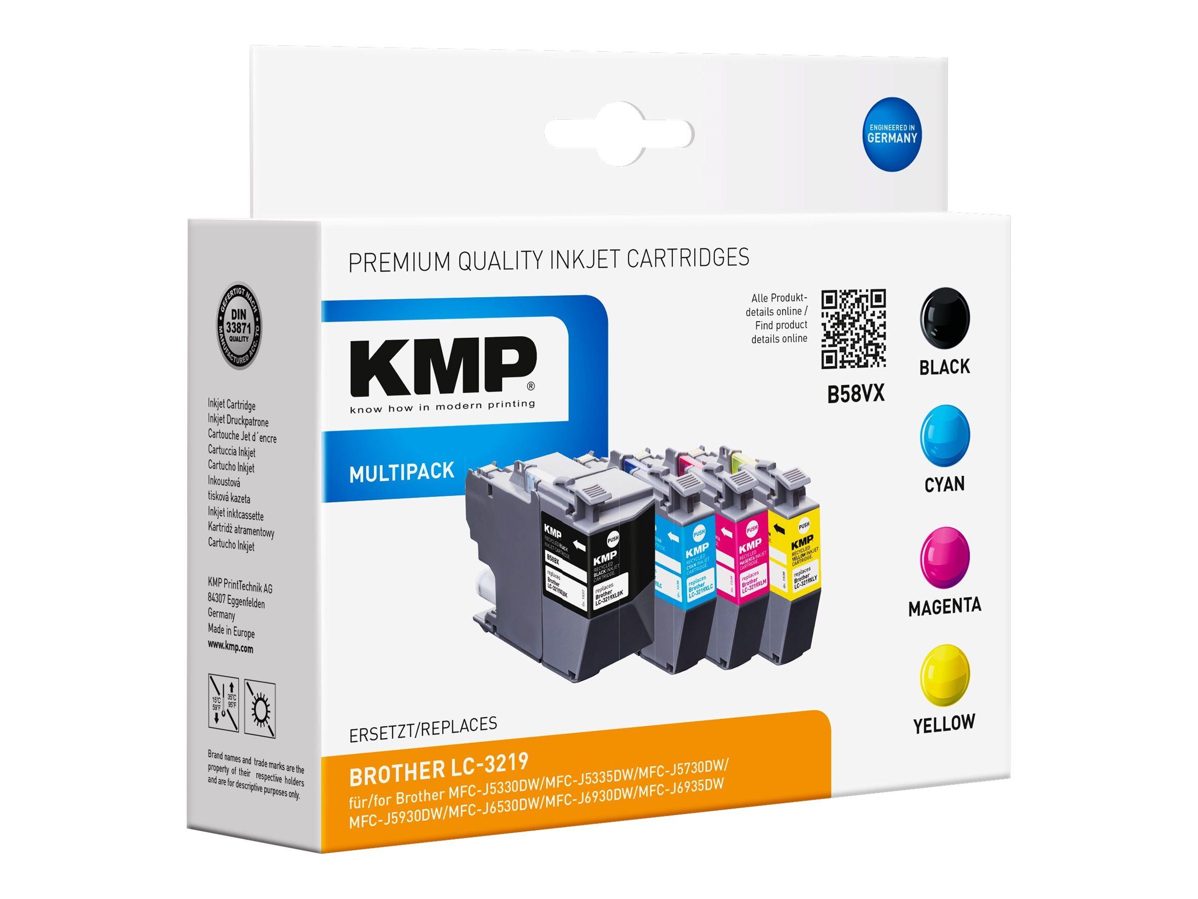 KMP MULTIPACK B58VX - 4er-Pack - Hohe Ergiebigkeit - Schwarz, Gelb, Cyan, Magenta - kompatibel - Tintenpatrone (Alternative zu: Brother LC3219XLM, Brother LC3219XLBK, Brother LC3219XLC, Brother LC3219XLY)