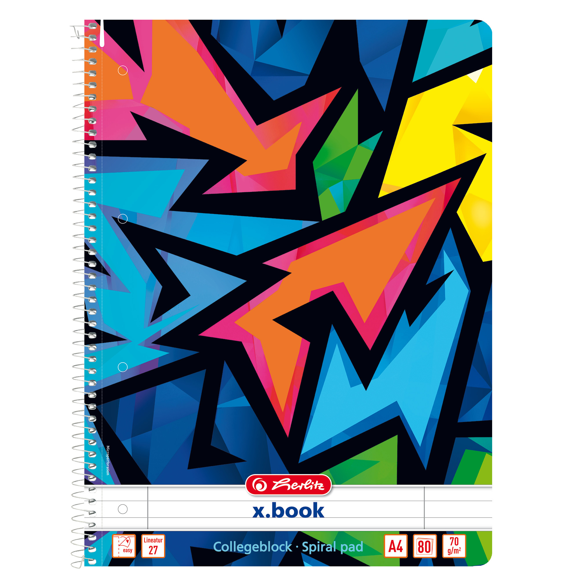 Herlitz 50027897 - Mehrfarbig - 80 Blätter - Liniertes Papier - A4 - Spiralbindung - Junge/Mädchen