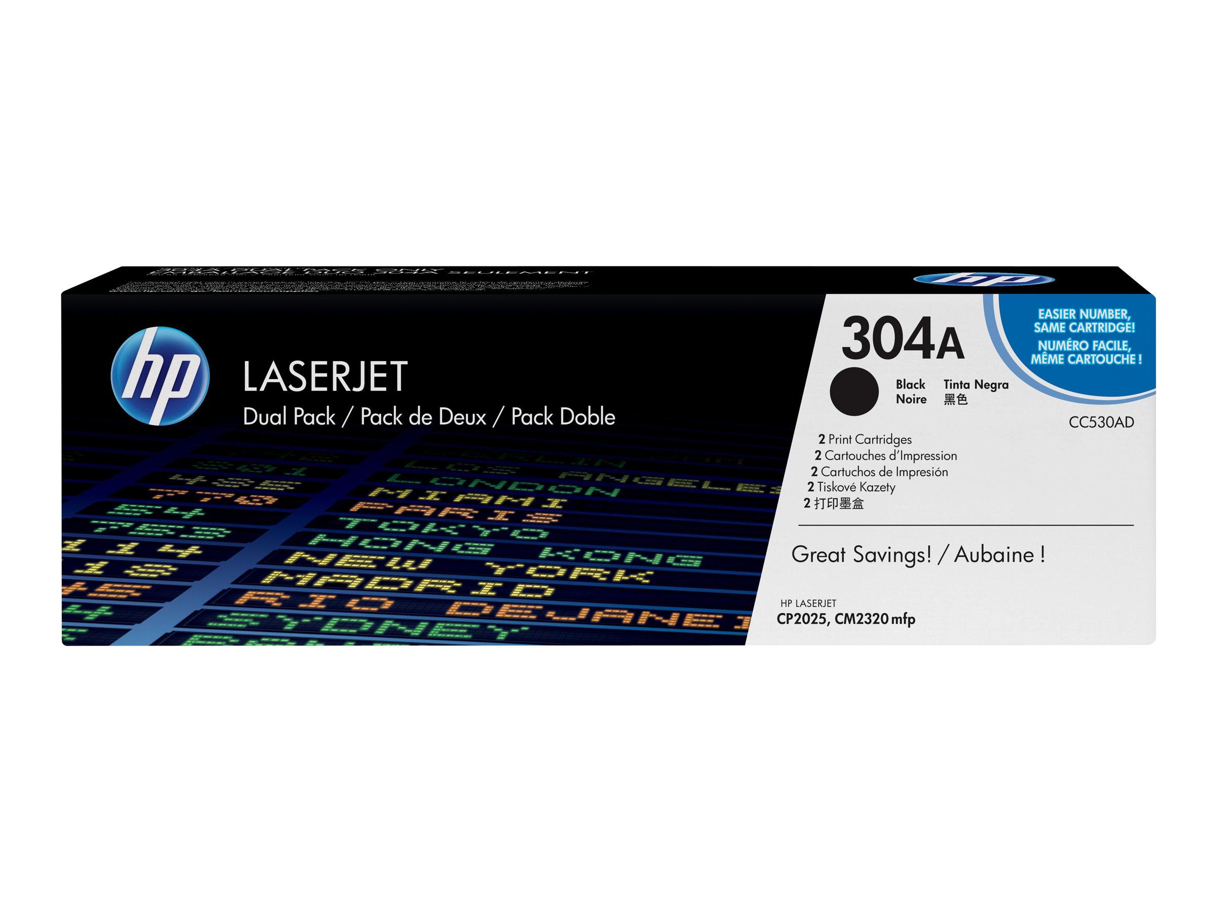 HP 304A - 2er-Pack - Schwarz - Original - LaserJet - Tonerpatrone (CC530AD)