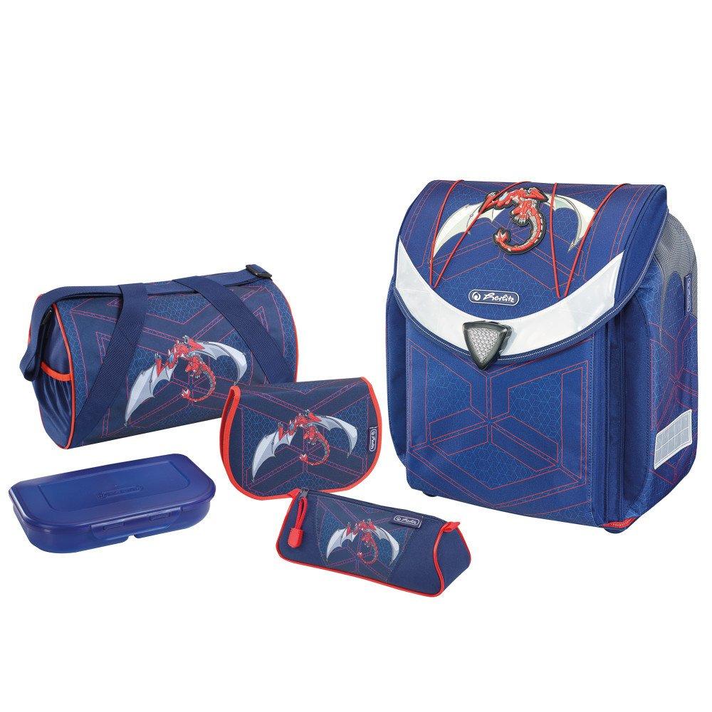 Herlitz Flexi Plus Robo Dragon - Brotdose - Pencil case - Pencil pouch - School bag - Sporttasche - Junge - Weiterführende & Grundschule - Rucksack - 18 l - Blau - Orange