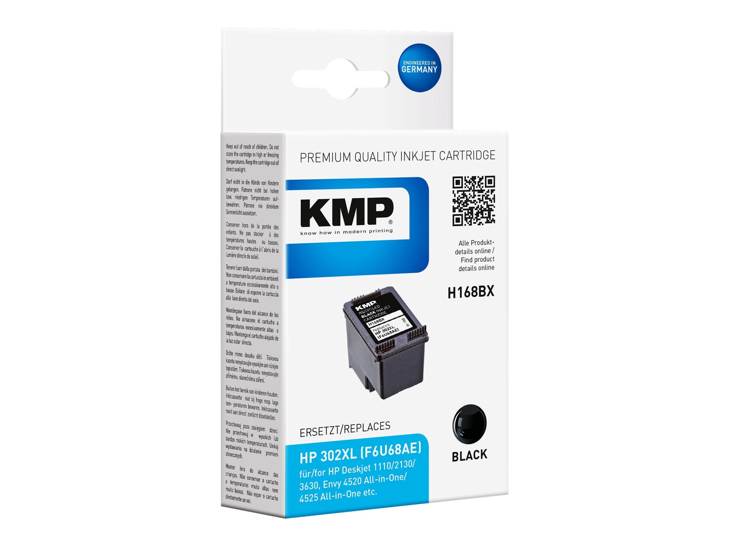 KMP H168BX - 15 ml - Schwarz - kompatibel - Tintenpatrone (Alternative zu: HP 302XL, HP F6U68AE)
