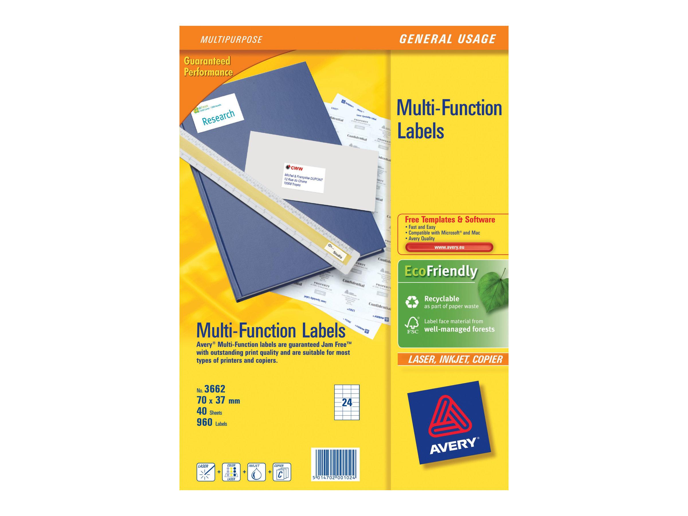 Avery Zweckform  Weiß - 70 x 37 mm 960 Etikett(en) (40 Bogen x 24) Mehrzwecketiketten