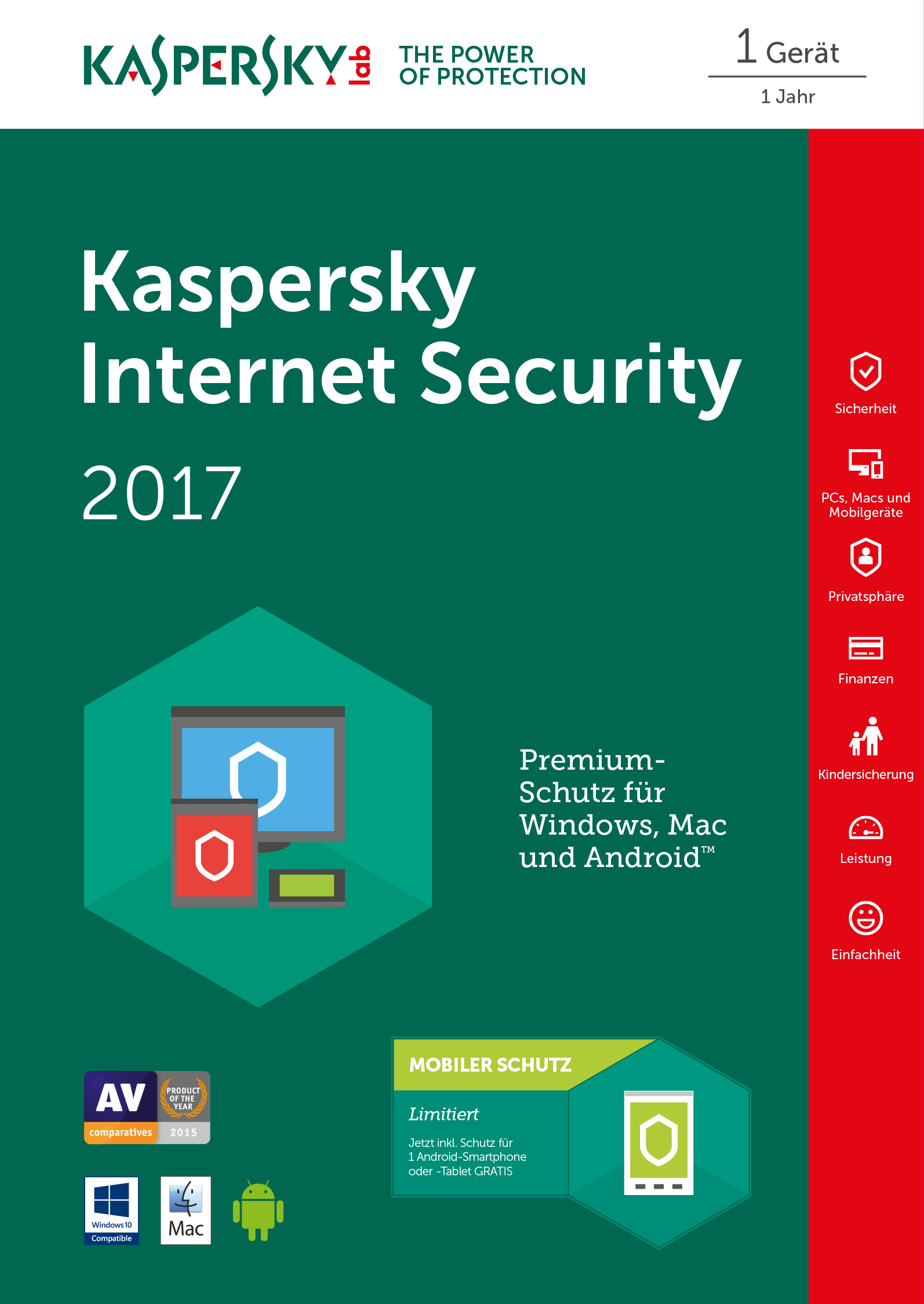 Kaspersky Internet Security 2017 - Box-Pack ( 1 Jahr ) - 1 Einheit ( Sierra )