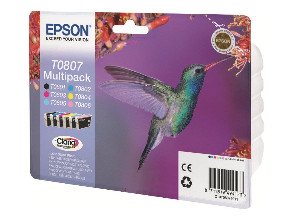 Epson T0807 Multipack - 6er-Pack - 44.4 ml - Schwarz, Gelb, Cyan, Magenta, hellmagentafarben, hell Cyan
