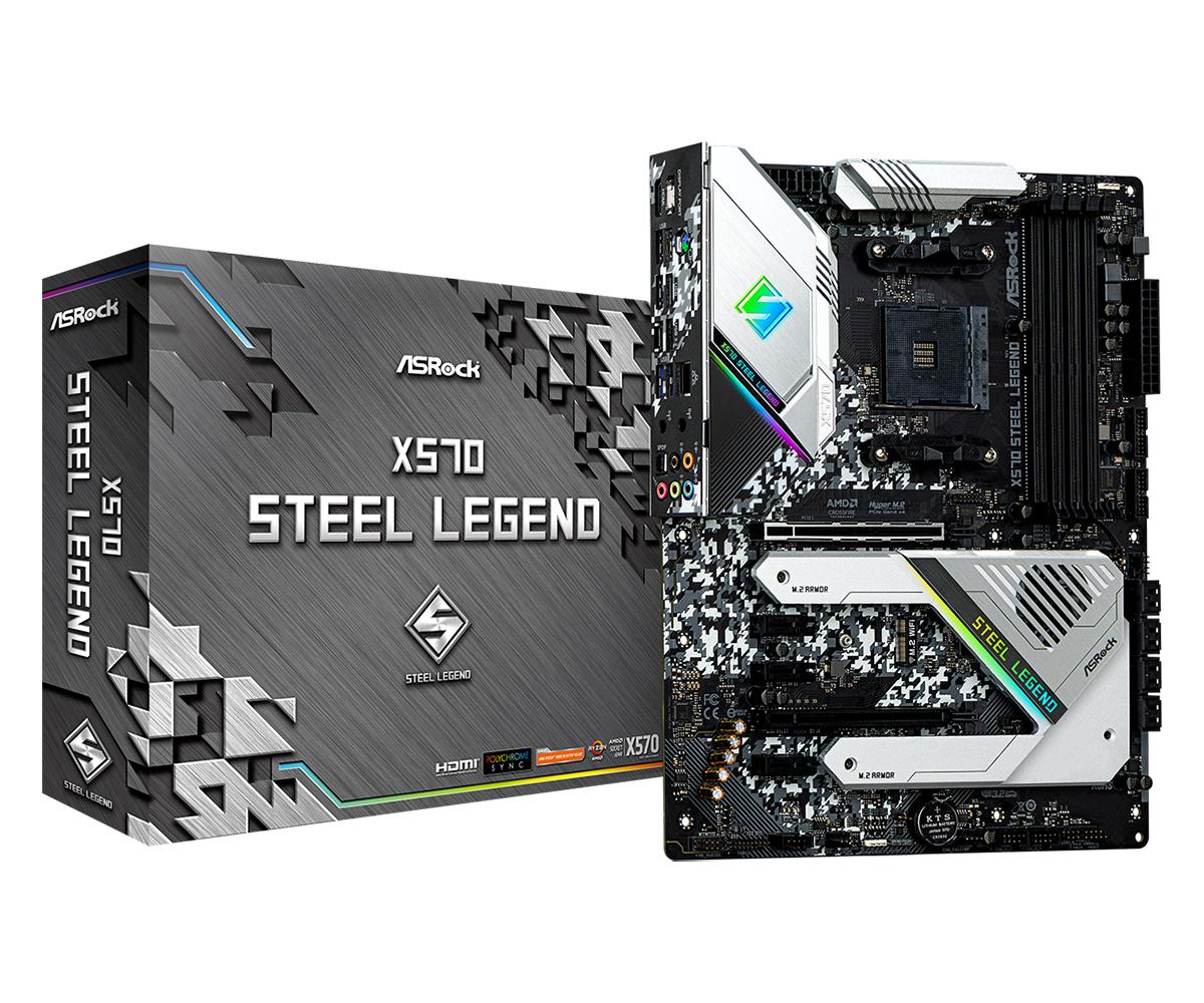 ASRock X570 Steel Legend - AMD - Buchse AM4 - AMD Ryzen - DDR4-SDRAM - DIMM - 2133,2400,2667,2933,3200,3466,3600,4133,4200,4266,4300,4400 MHz