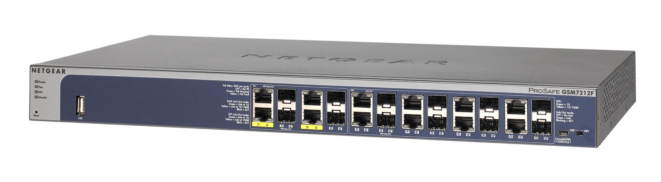 Netgear ProSafe GSM7212F gemanaged L2+ Energie Über Ethernet (PoE) Unterstützung Grau