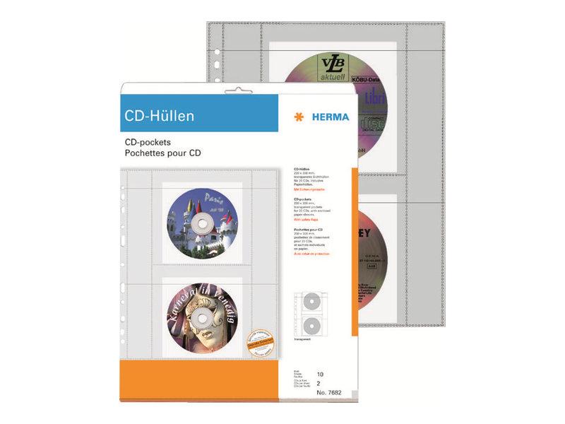 HERMA CD-Hülle - Kapazität: 2 CD - durchsichtig (Packung mit 10)