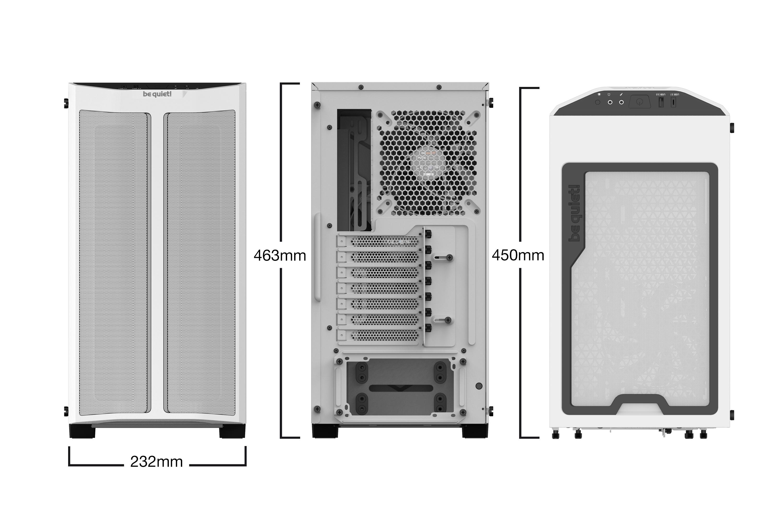 Be Quiet! Pure Base 500DX - Desktop - PC - Acrylnitril-Butadien-Styrol (ABS) - Stahl - Gehärtetes Glas - Weiß - ATX,Micro ATX,Mini-ATX - Rot/Grün/Blau