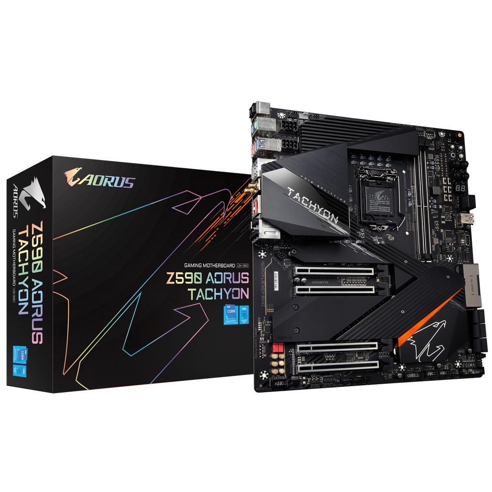 Gigabyte Z590 AORUS TACHYON - Intel - LGA 1200 - Intel® Celeron® - Intel® Core™ i3 - Intel Core i5 - Intel Core i7 - Intel Core i9 - Intel® Pentium® - LGA 1200 (Socket H5) - DDR4-SDRAM - DIMM