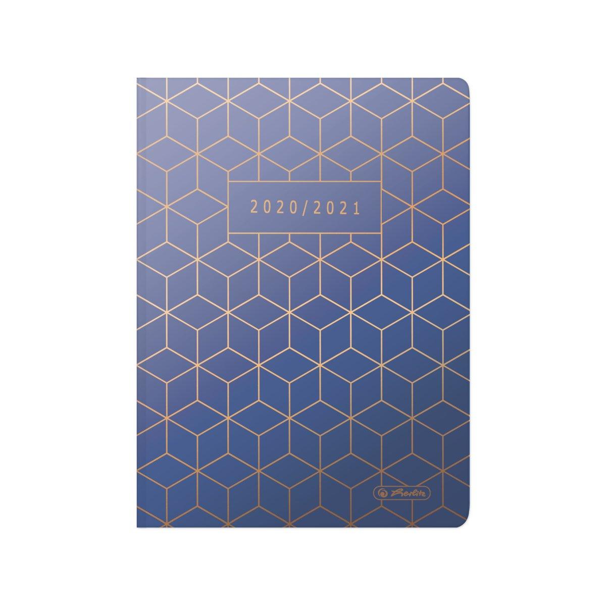 Vorschau: Herlitz 50029174 - Schultagebuch - 2020-2021 - Blau - Aug. 2020-Juli 2021 - Muster - A5