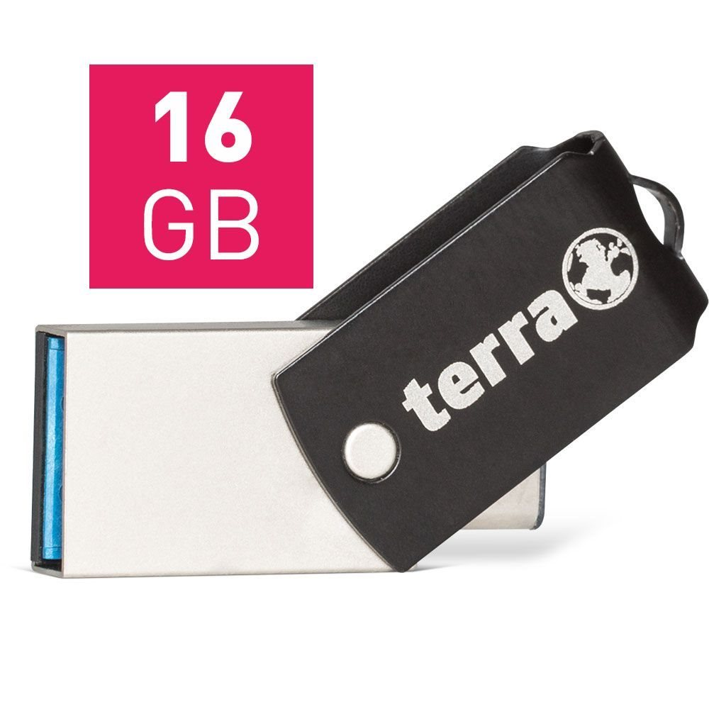 Wortmann TERRA USThree A + 16GB USB 3.0 (3.1 Gen 1) Type-A/Type-C Schwarz USB-Stick